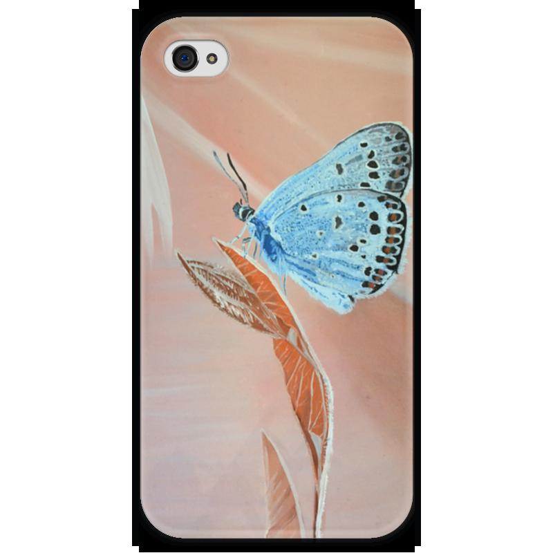 Чехол для iPhone 4 глянцевый, с полной запечаткой Printio Бабочка купить чехол для айфона 4 с камнями