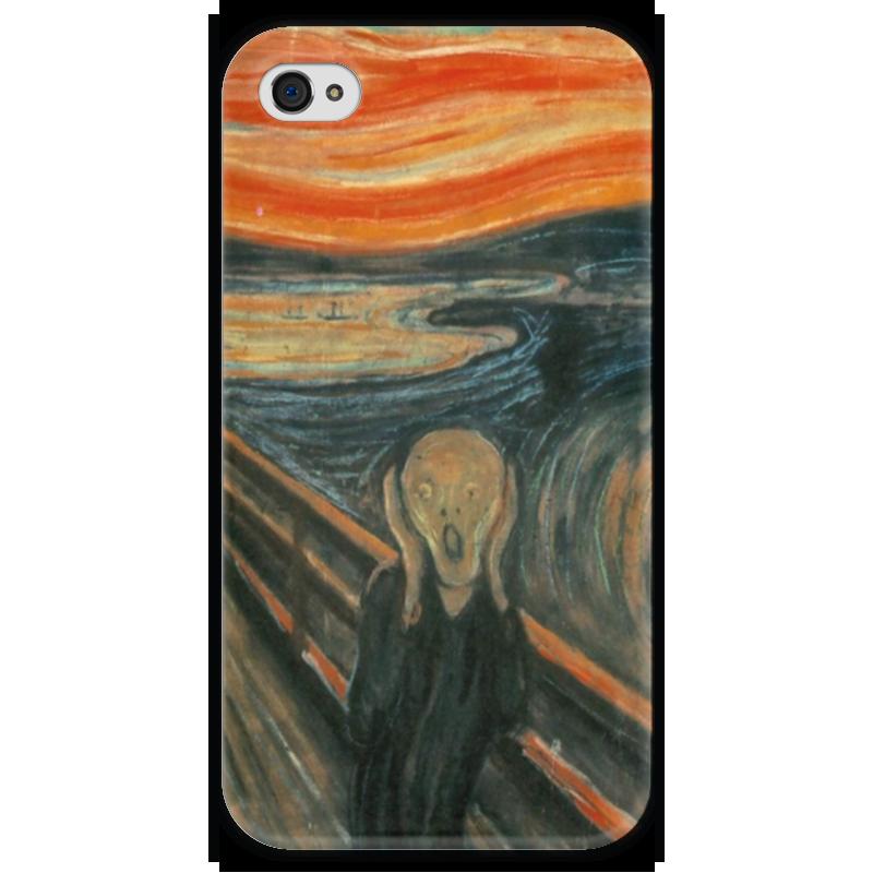 Чехол для iPhone 4 глянцевый, с полной запечаткой Printio Крик (картина эдварда мунка) тетрадь на скрепке printio крик картина мунка