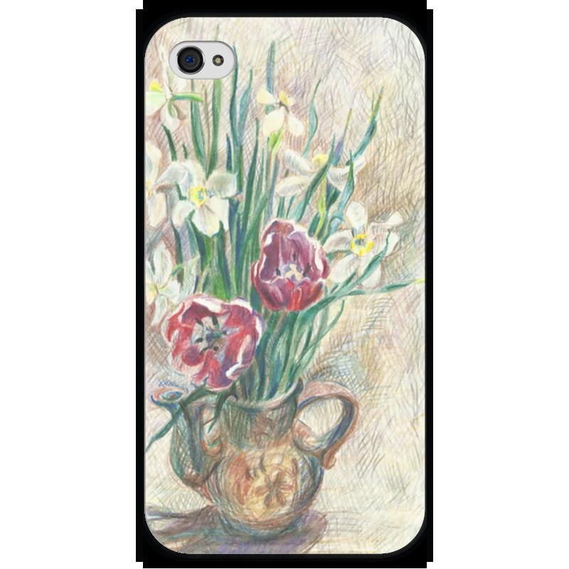 Чехол для iPhone 4 глянцевый, с полной запечаткой Printio Весенний букет чехол для iphone 4 глянцевый с полной запечаткой printio эфиопка