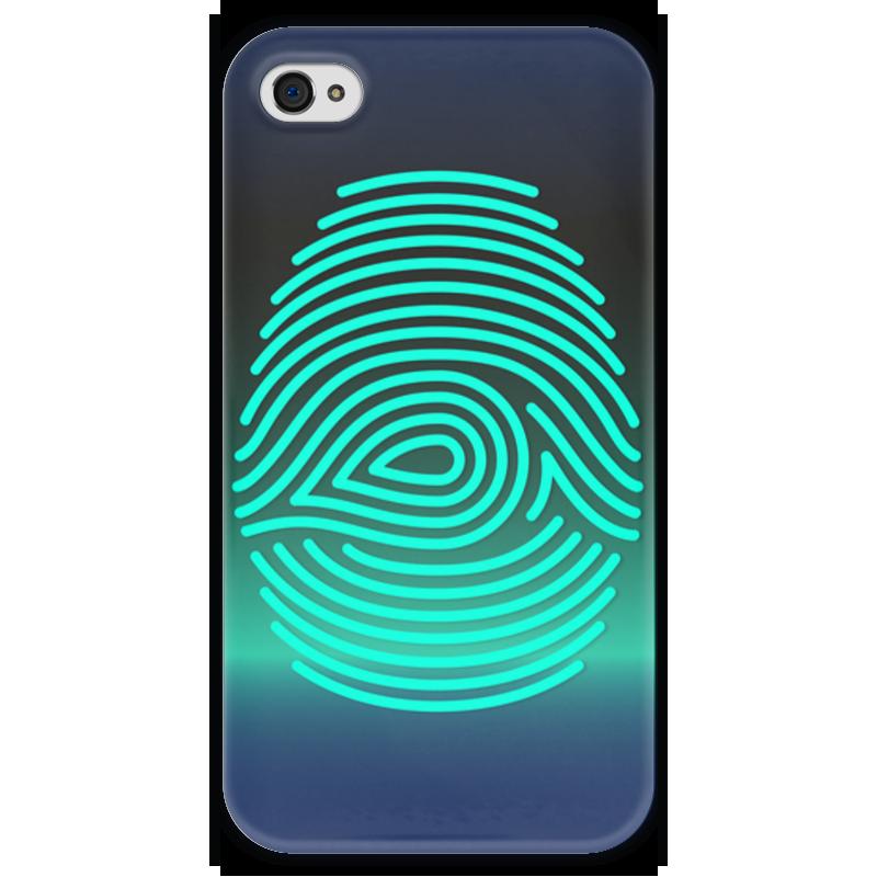 Чехол для iPhone 4 глянцевый, с полной запечаткой Printio Отпечаток пальца чехол для карточек пионы на синем фоне дк2017 113