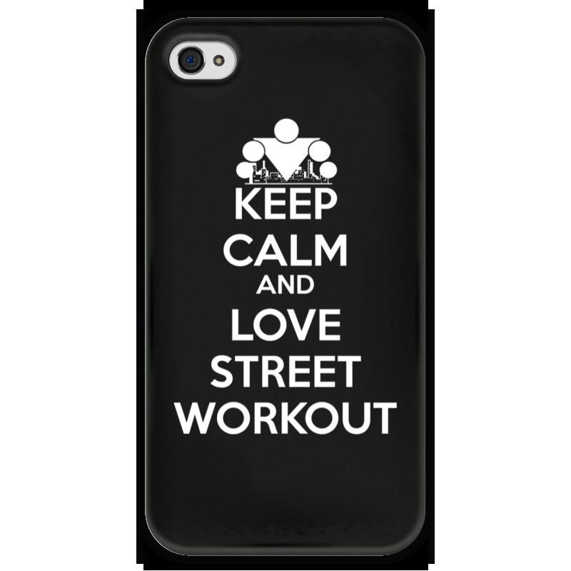 Чехол для iPhone 4 глянцевый, с полной запечаткой Printio Keep calm and love sport чехол для iphone 7 глянцевый printio keep calm and play rock