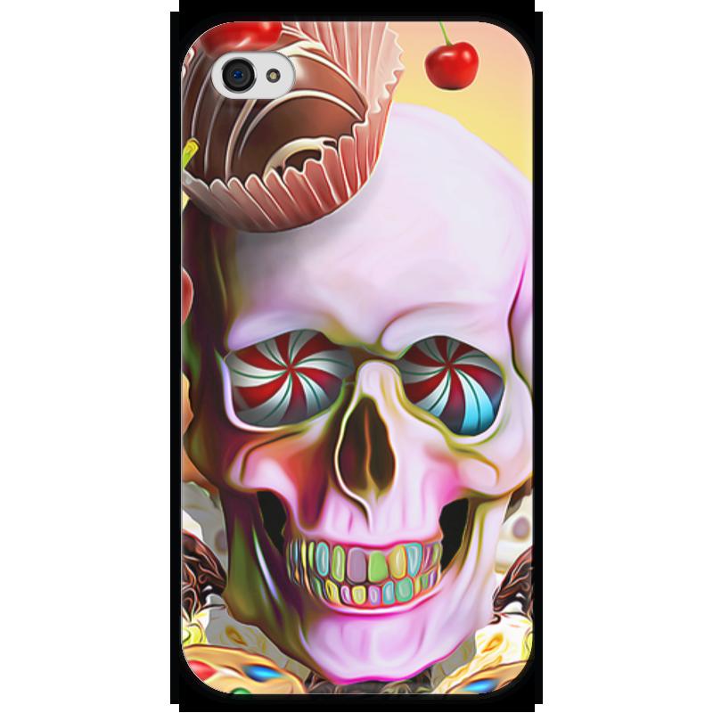 Чехол для iPhone 4 глянцевый, с полной запечаткой Printio Sweet skull чехол для iphone 6 глянцевый printio sweet dream