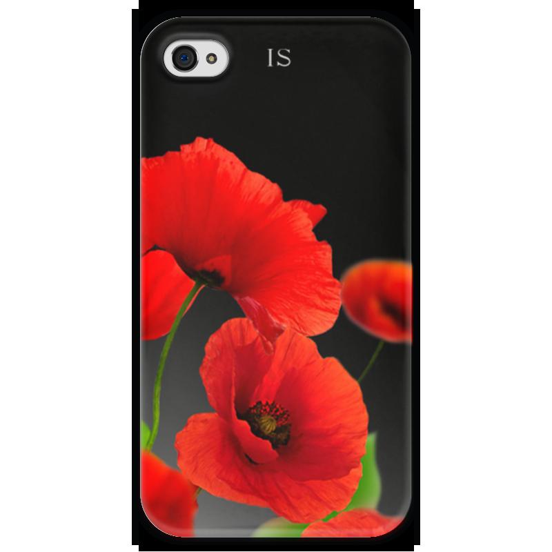 Чехол для iPhone 4 глянцевый, с полной запечаткой Printio Красные маки