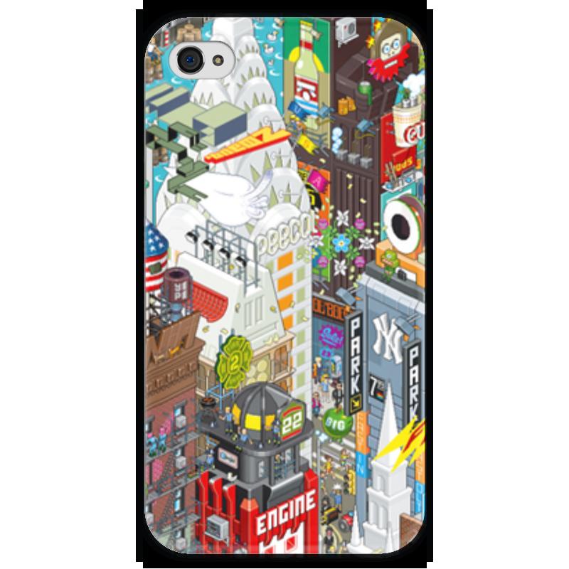 Чехол для iPhone 4 глянцевый, с полной запечаткой Printio Нью йорк футболка с полной запечаткой printio нью йорк никс
