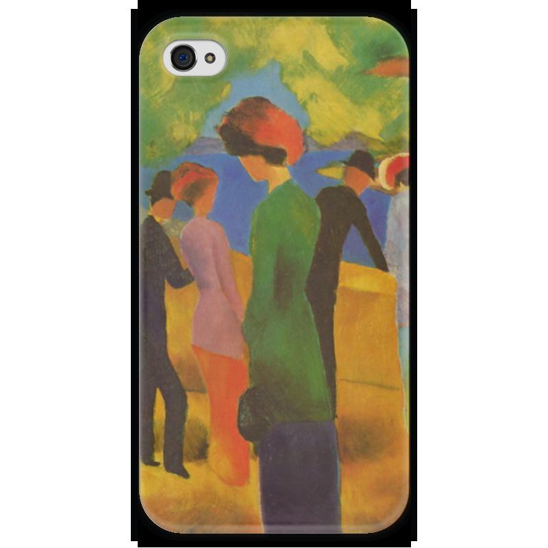 Чехол для iPhone 4 глянцевый, с полной запечаткой Printio Дама в зелёном жакете (август маке) чехол для iphone 4 глянцевый с полной запечаткой printio шляпный магазин август маке