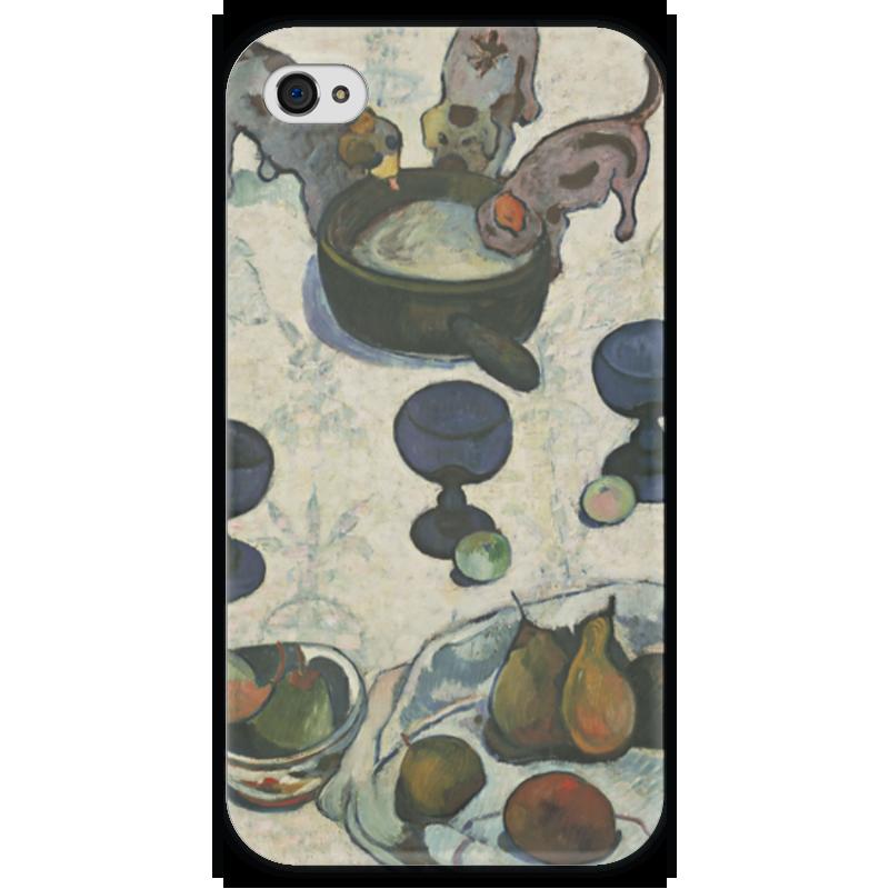 Чехол для iPhone 4 глянцевый, с полной запечаткой Printio Натюрморт с тремя щенками
