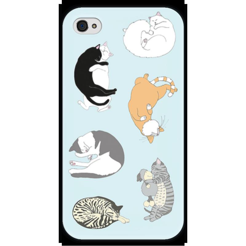 Чехол для iPhone 4 глянцевый, с полной запечаткой Printio Спящие котики чехол для iphone 4 глянцевый с полной запечаткой printio сад на улице корто сад на монмартре ренуар