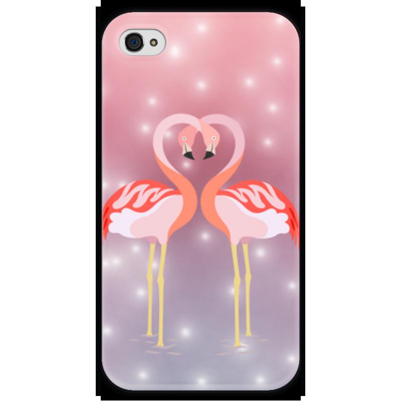 Чехол для iPhone 4 глянцевый, с полной запечаткой Printio Влюбленные фламинго чехол для iphone 4 глянцевый с полной запечаткой printio эфиопка