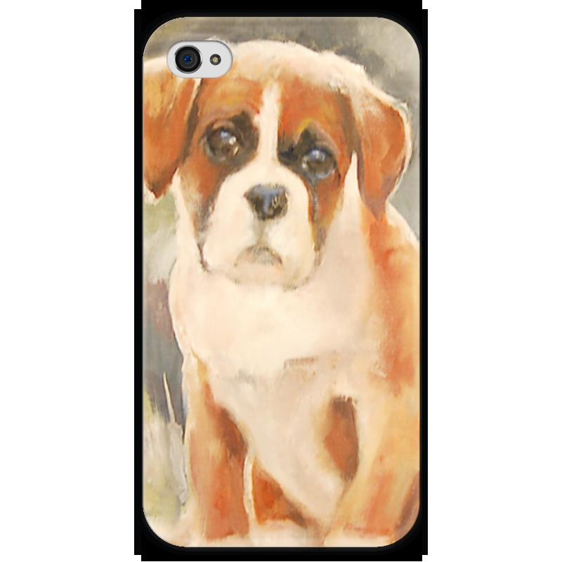 Чехол для iPhone 4 глянцевый, с полной запечаткой Printio Boxer puppy чехол для iphone 4 глянцевый с полной запечаткой printio эфиопка