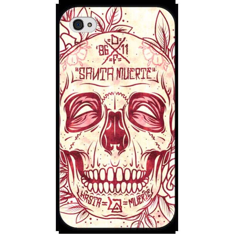 Чехол для iPhone 4 глянцевый, с полной запечаткой Printio Santa muerte skull