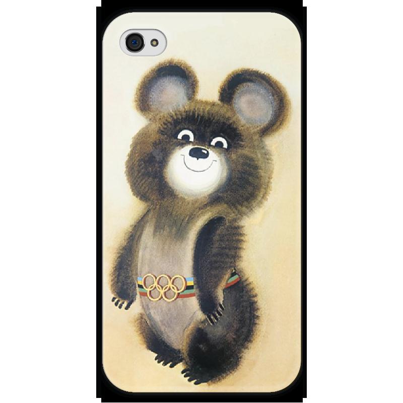 Чехол для iPhone 4 глянцевый, с полной запечаткой Printio Олимпийский мишка фиксатор двери мир детства мишка
