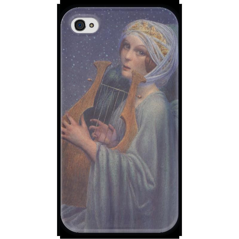 Чехол для iPhone 4 глянцевый, с полной запечаткой Printio Женщина с лирой