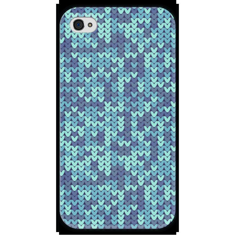 Чехол для iPhone 4 глянцевый, с полной запечаткой Printio Голубой вязаный узор чехол для iphone 4 глянцевый с полной запечаткой printio эфиопка
