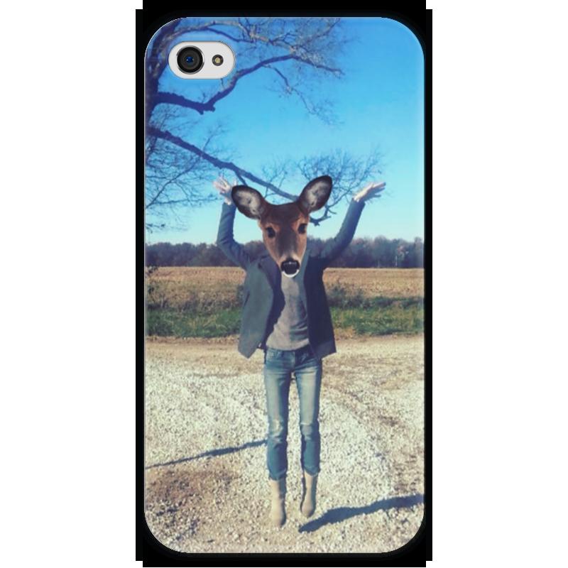 Чехол для iPhone 4 глянцевый, с полной запечаткой Printio Flying fawn