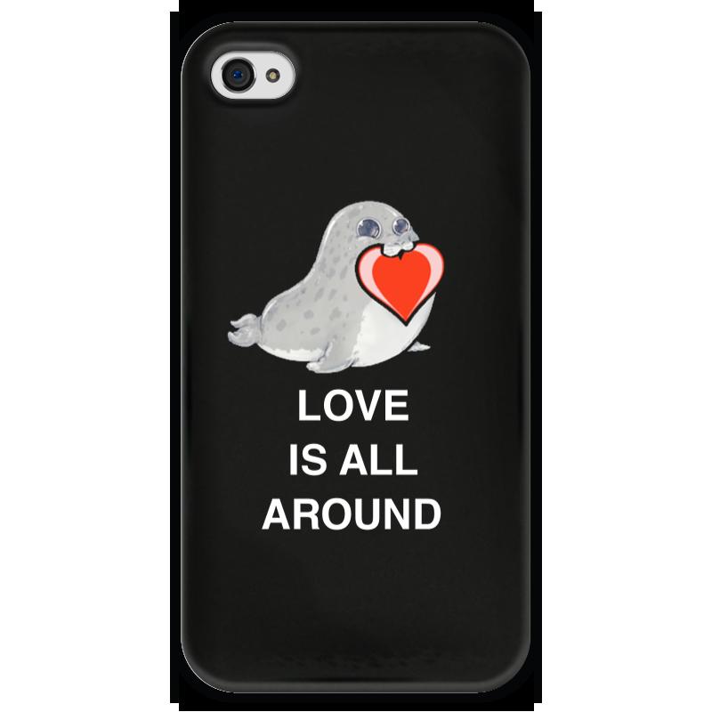 Чехол для iPhone 4 глянцевый, с полной запечаткой Printio Love. тюлень. любовь. чехол для iphone 4 глянцевый с полной запечаткой printio любовь наше сопротивление