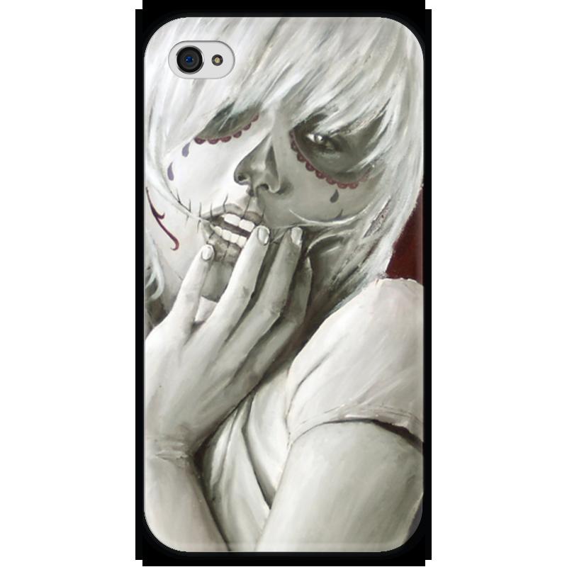 Чехол для iPhone 4 глянцевый, с полной запечаткой Printio Skull girl чехол для iphone 4 глянцевый с полной запечаткой printio эфиопка