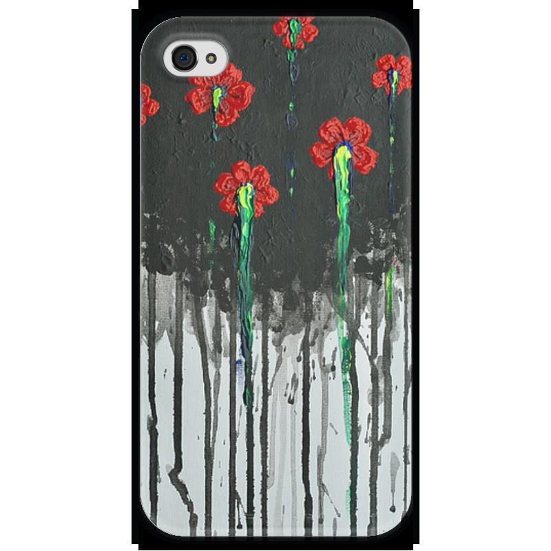Чехол для iPhone 4 глянцевый, с полной запечаткой Printio Красные маки чехол для iphone 4 глянцевый с полной запечаткой printio эфиопка