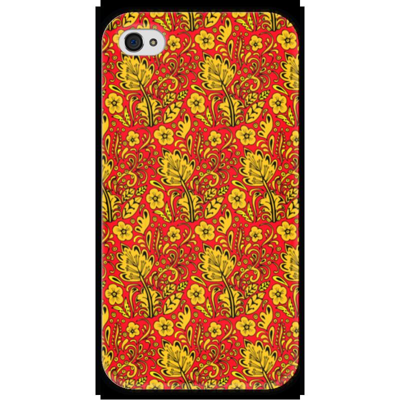 Чехол для iPhone 4 глянцевый, с полной запечаткой Printio Хохлома чехол для iphone 4 глянцевый с полной запечаткой printio эфиопка