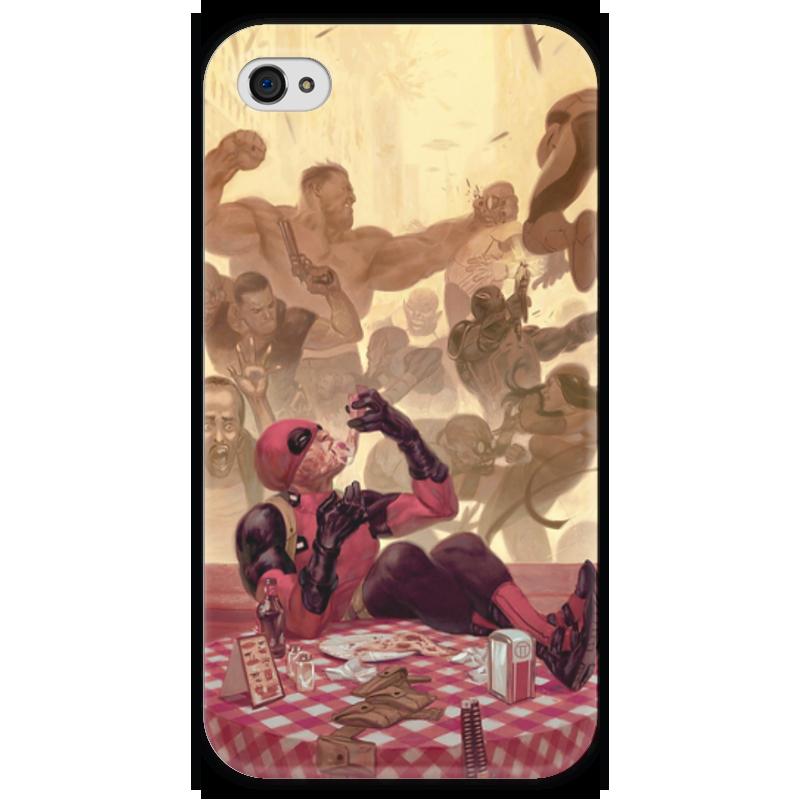 Чехол для iPhone 4 глянцевый, с полной запечаткой Printio Дэдпул (deadpool) чехол для iphone 4 глянцевый с полной запечаткой printio deadpool