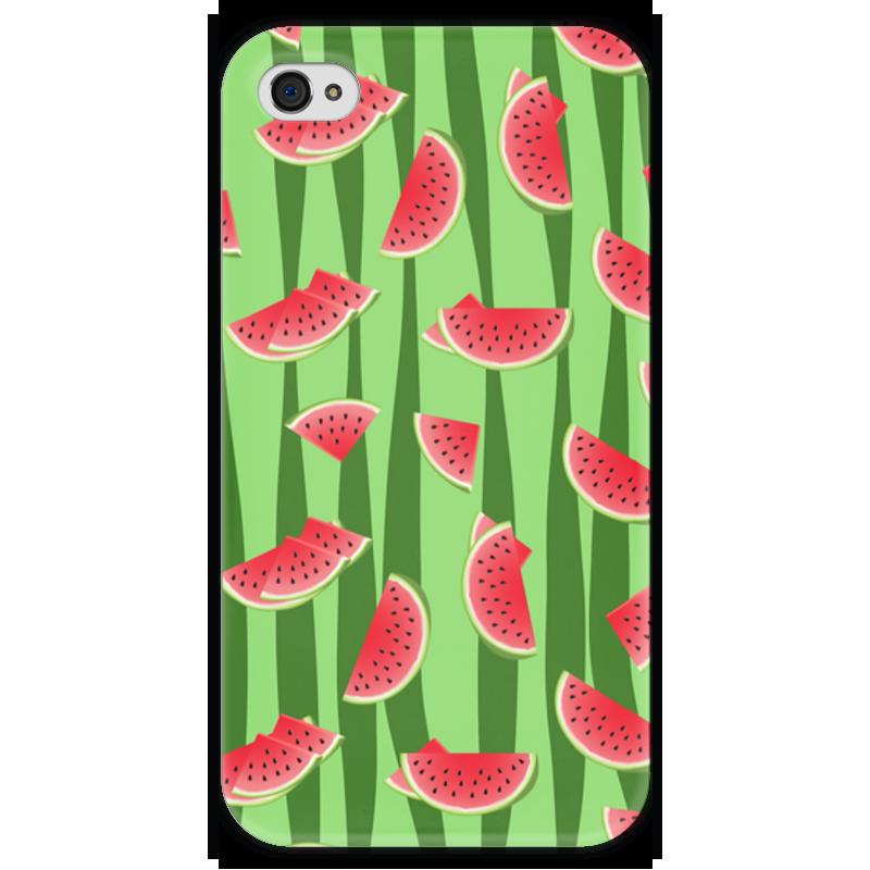 Чехол для iPhone 4 глянцевый, с полной запечаткой Printio Арбуз чехол для карточек фламинго на зеленом фоне дк2017 099