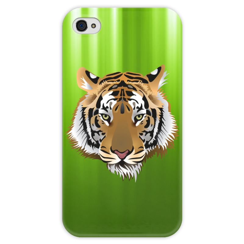 Чехол для iPhone 4 глянцевый, с полной запечаткой Printio Взгляд тигра письмо для тигра