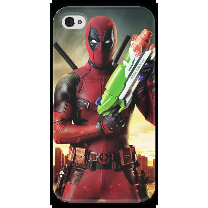 Чехол для iPhone 4 глянцевый, с полной запечаткой Printio Deadpool чехол для iphone 4 глянцевый с полной запечаткой printio фруктовый сад в цвету