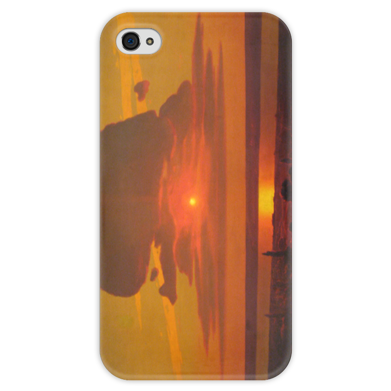 Чехол для iPhone 4 глянцевый, с полной запечаткой Printio Красный закат (картина архипа куинджи) чехол для blackberry z10 printio север картина архипа куинджи