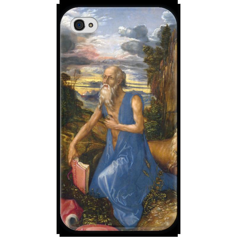 Чехол для iPhone 4 глянцевый, с полной запечаткой Printio Святой иероним в пустыне