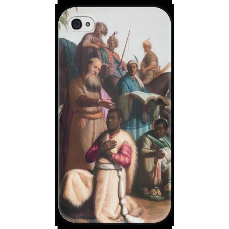 Чехол для iPhone 4 глянцевый, с полной запечаткой Printio Крещение евнуха (картина рембрандта)