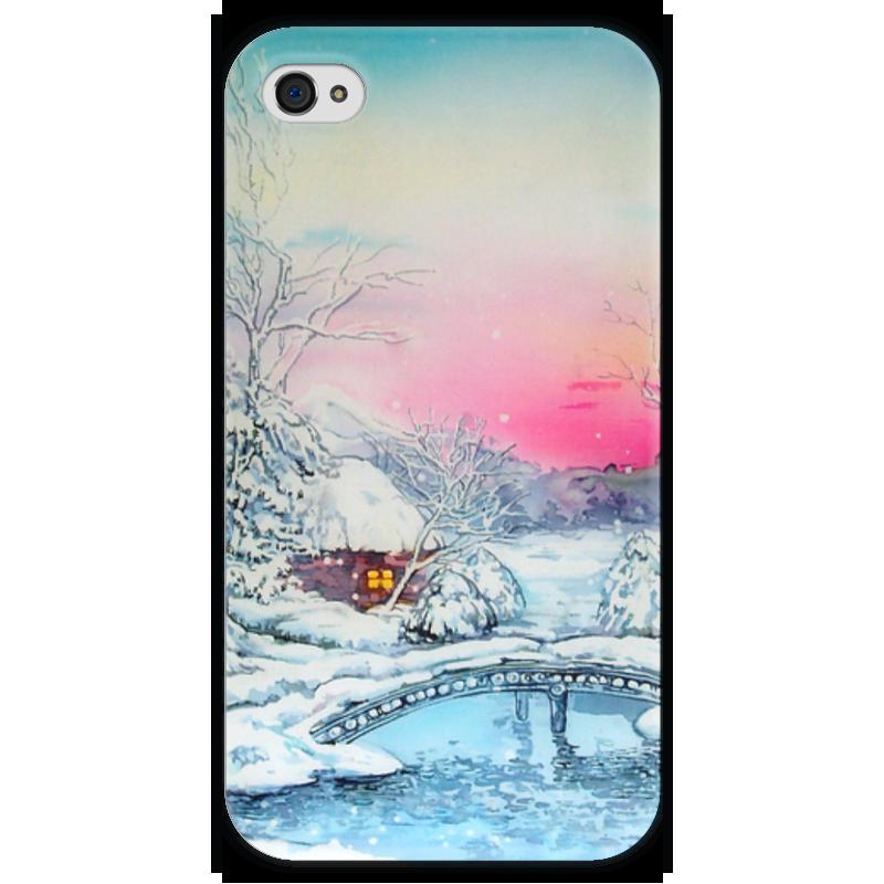 Чехол для iPhone 4 глянцевый, с полной запечаткой Printio Морозная зима. чехол для iphone 4 глянцевый с полной запечаткой printio эфиопка