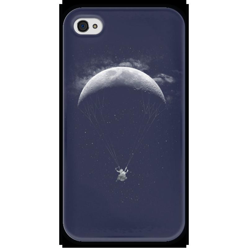 Чехол для iPhone 4 глянцевый, с полной запечаткой Printio Полет на луне сказки дерева подвеска ангел на луне