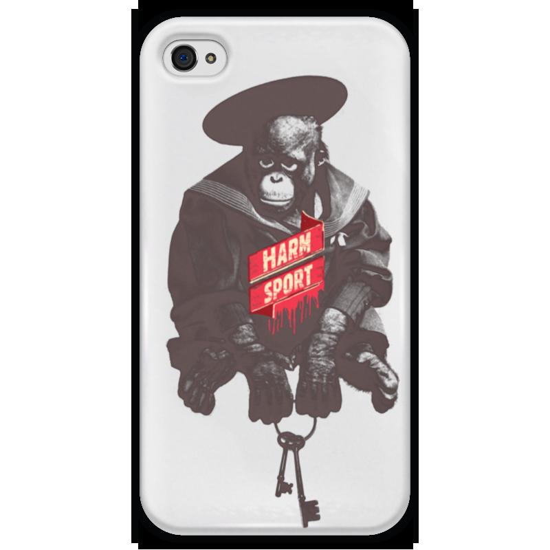 Чехол для iPhone 4 глянцевый, с полной запечаткой Printio Harm sport do no harm