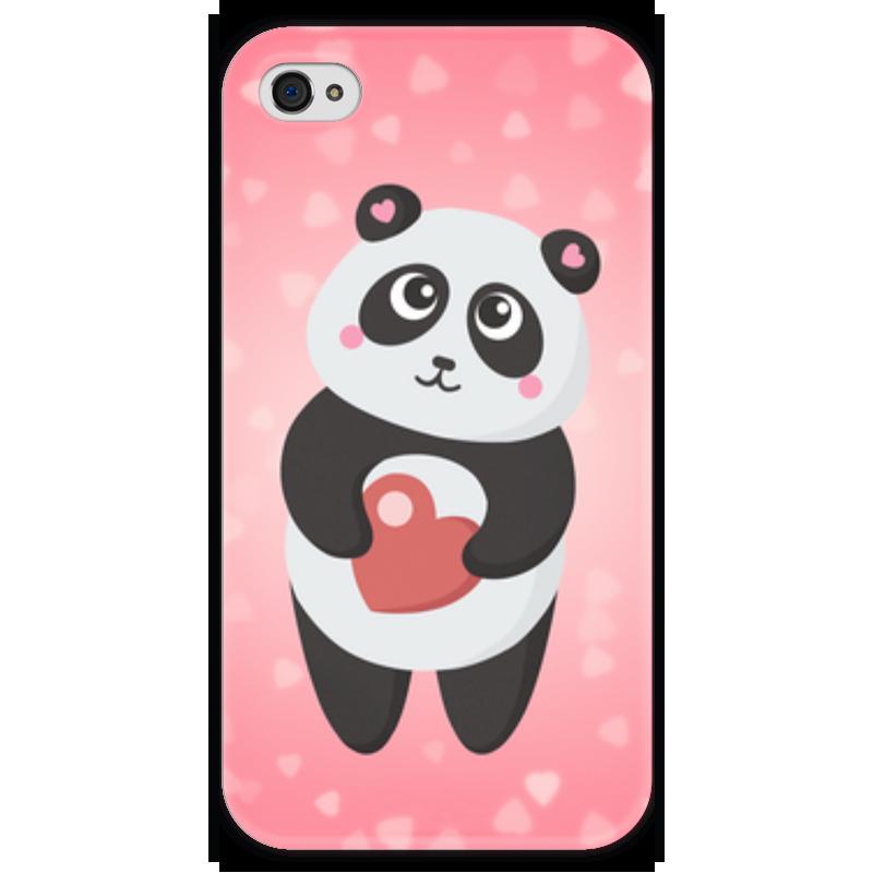 Чехол для iPhone 4 глянцевый, с полной запечаткой Printio Панда с сердечком футболка с полной запечаткой для девочек printio панда с сердечком