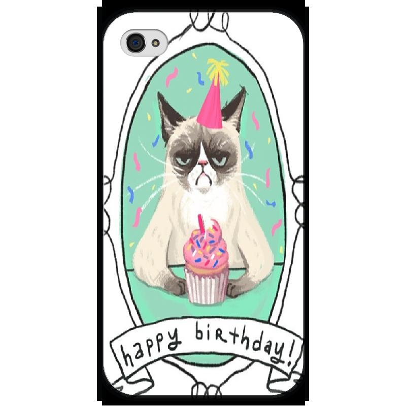 Чехол для iPhone 4 глянцевый, с полной запечаткой Printio Cat happy birthday чехол для iphone 5 глянцевый с полной запечаткой printio how to be happy
