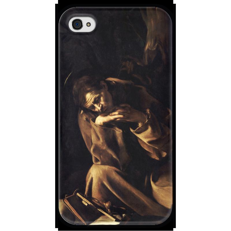 Чехол для iPhone 4 глянцевый, с полной запечаткой Printio Святой франциск в размышлении (караваджо) караваджо