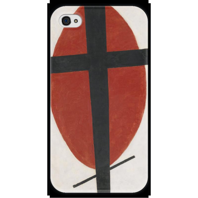Чехол для iPhone 4 глянцевый, с полной запечаткой Printio Супрематизм (черный крест на красном овале) ожерелье овале