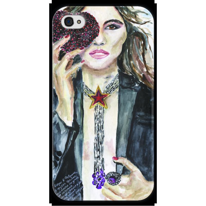 Чехол для iPhone 4 глянцевый, с полной запечаткой Printio Miss february / мисс февраль