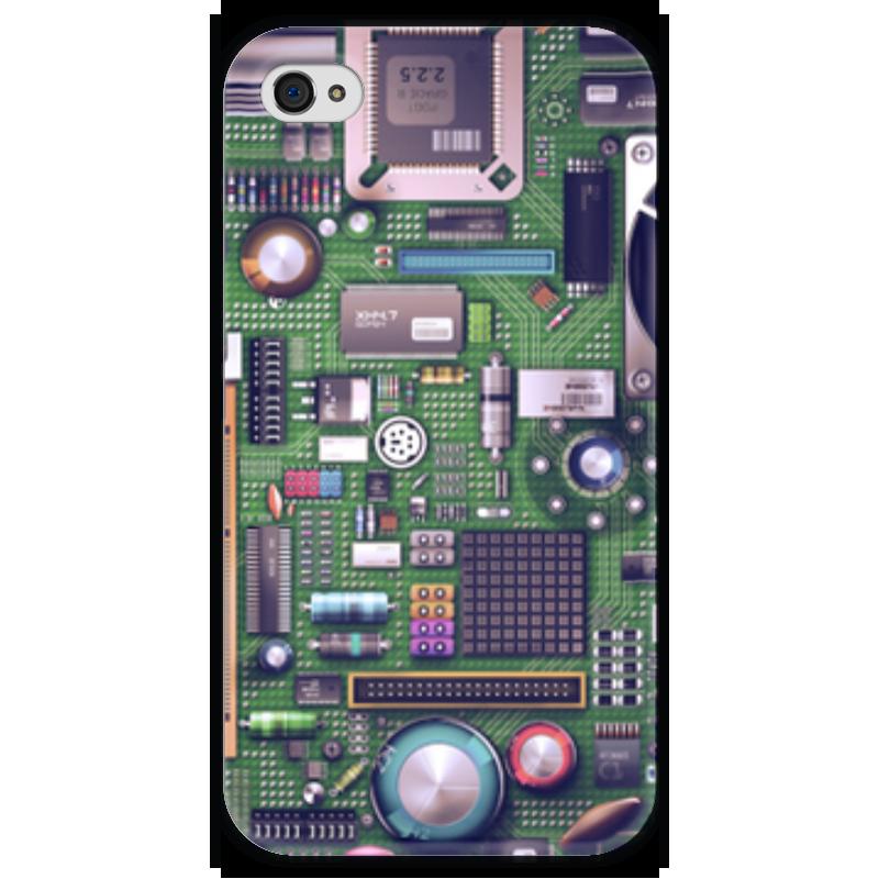 Чехол для iPhone 4 глянцевый, с полной запечаткой Printio Материнская плата