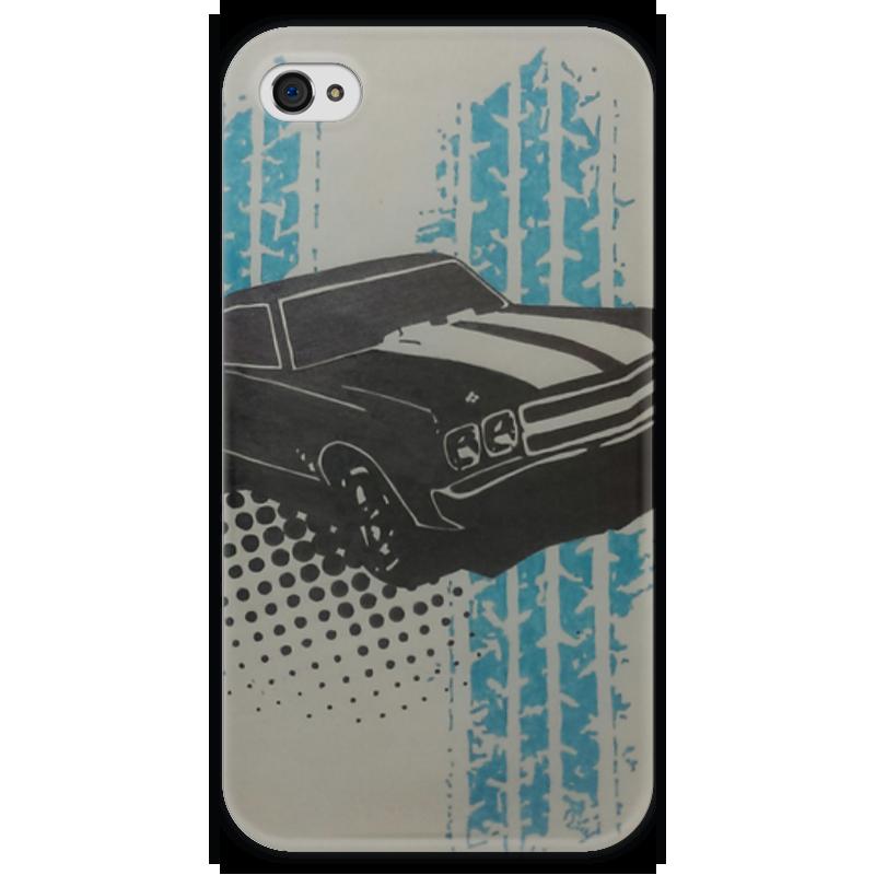 Чехол для iPhone 4 глянцевый, с полной запечаткой Printio Muscle car herbal muscle