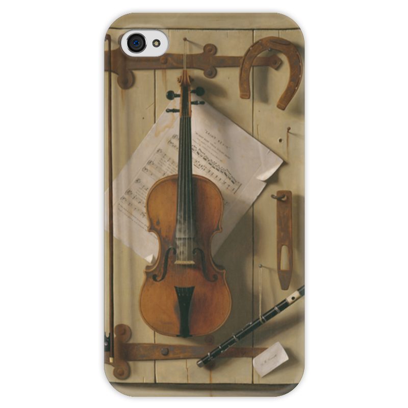 Чехол для iPhone 4 глянцевый, с полной запечаткой Printio Натюрморт со скрипкой (уильям харнетт) чехол для samsung galaxy s5 printio натюрморт со скрипкой уильям харнетт