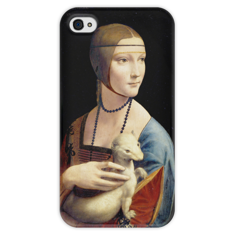 Чехол для iPhone 4 глянцевый, с полной запечаткой Printio Дама с горностаем (леонардо да винчи) вешалка леонардо