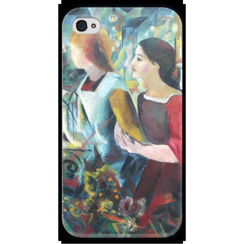 Чехол для iPhone 4 глянцевый, с полной запечаткой Printio Две девушки (август маке) чехол для iphone 4 глянцевый с полной запечаткой printio шляпный магазин август маке