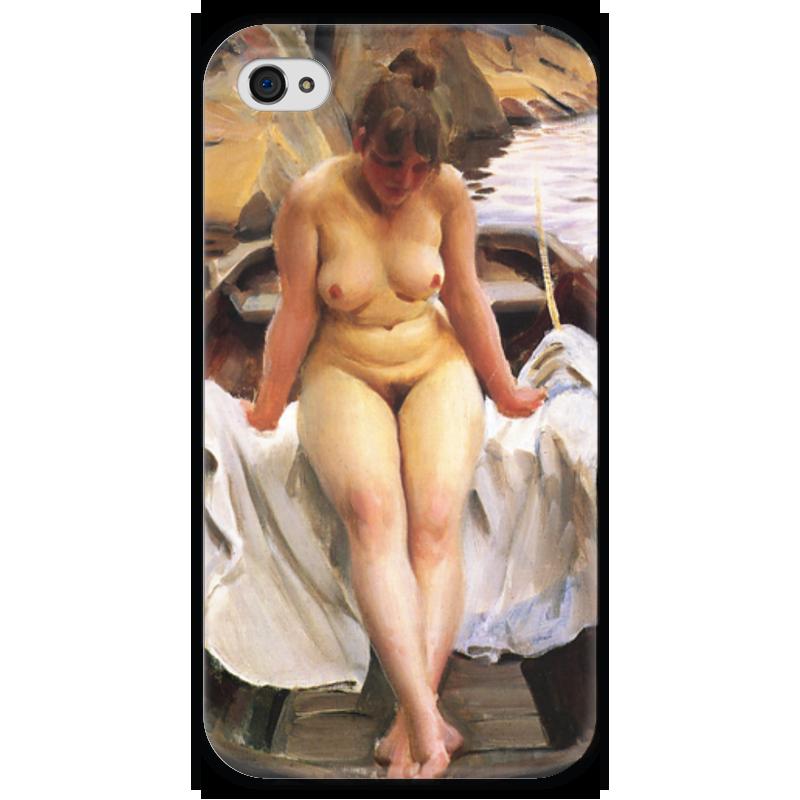 Чехол для iPhone 4 глянцевый, с полной запечаткой Printio Woman in the boat