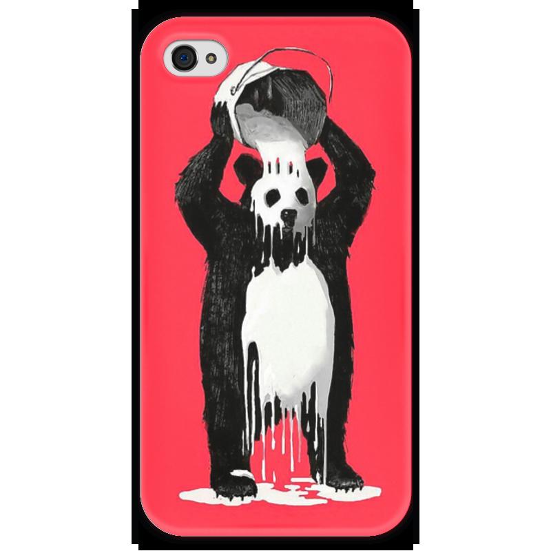 Чехол для iPhone 4 глянцевый, с полной запечаткой Printio Панда в краске чехол для iphone 4 глянцевый с полной запечаткой printio эфиопка