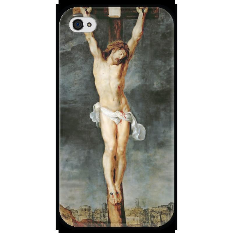 Чехол для iPhone 4 глянцевый, с полной запечаткой Printio Христос на кресте вышивка бисером молящийся христос