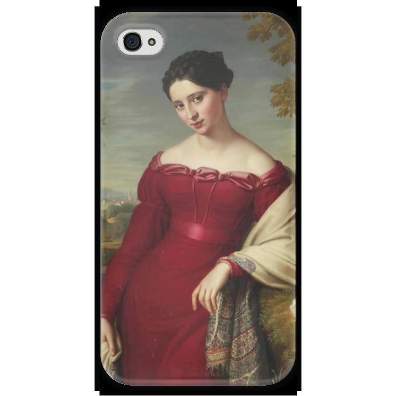 Чехол для iPhone 4 глянцевый, с полной запечаткой Printio Портрет молодой дамы в красном платье куплю еврозаборы в красном луче