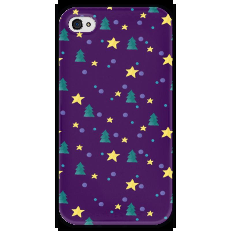 Чехол для iPhone 4 глянцевый, с полной запечаткой Printio Елки и звезды нашествие дни и ночи