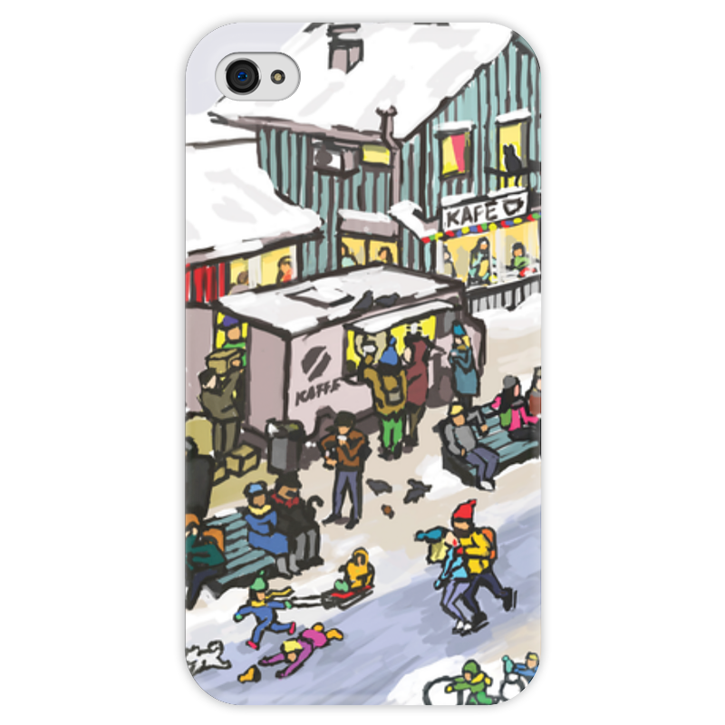 Чехол для iPhone 4 глянцевый, с полной запечаткой Printio Winter town чехол для iphone 4 глянцевый с полной запечаткой printio зимние забавы