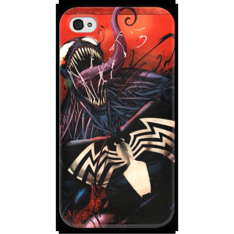 Чехол для iPhone 4 глянцевый, с полной запечаткой Printio Веном (venom) чехол для iphone 4 глянцевый с полной запечаткой printio эфиопка