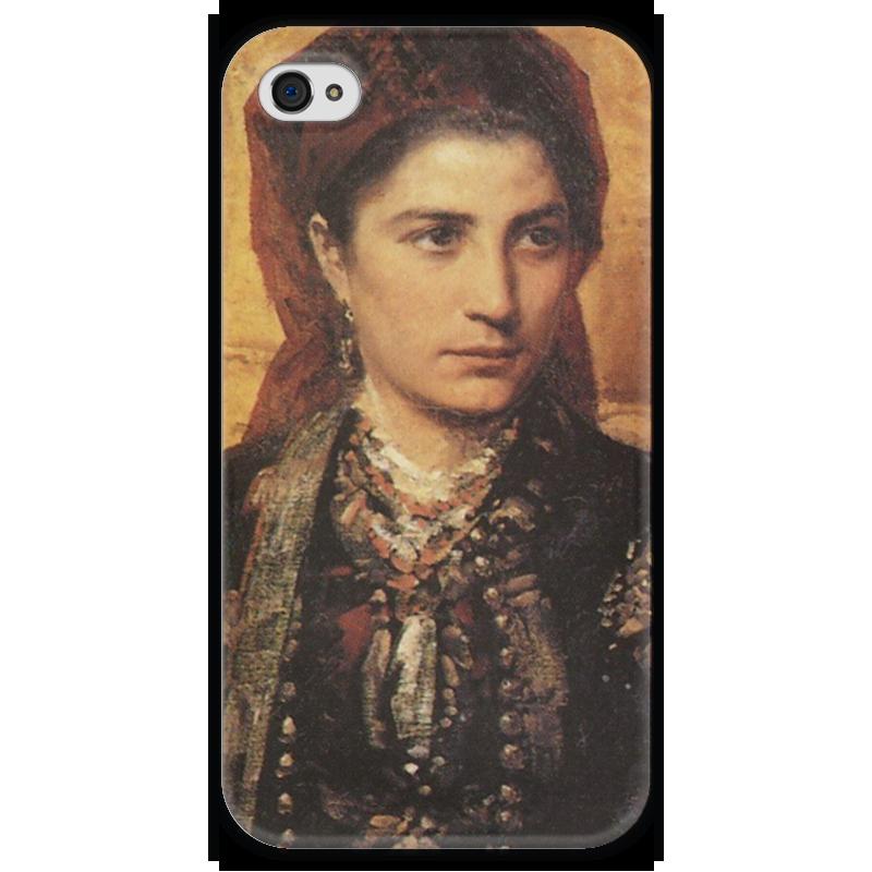 Чехол для iPhone 4 глянцевый, с полной запечаткой Printio Черногорка поленов